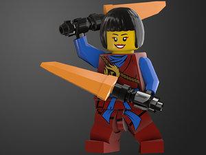 3D rigged ready ninjagirl lego character model