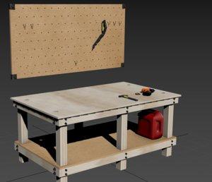shop table wood peg 3D