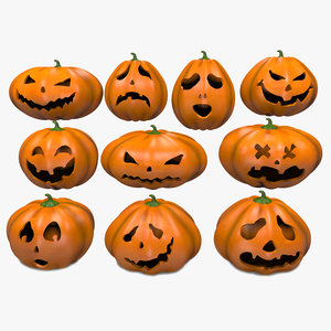 3D halloween pumpkins emoji set