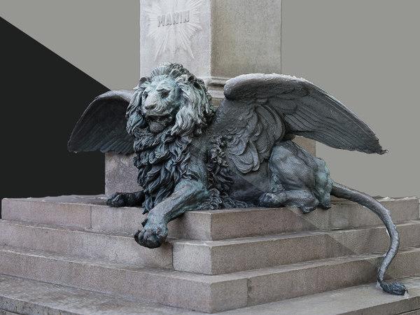 3D sculpture venice winged lion