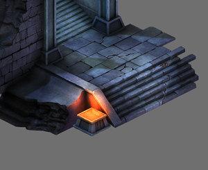 3D tomb - doorway staircase model