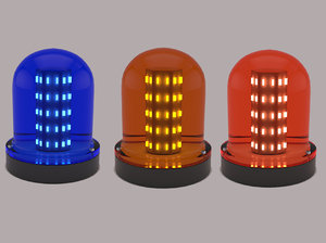 warning light blue orange 3D