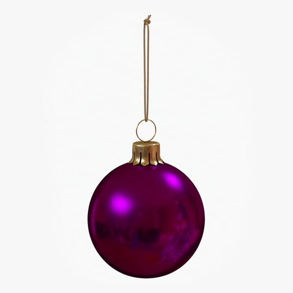 3D christmas ball purple glossy