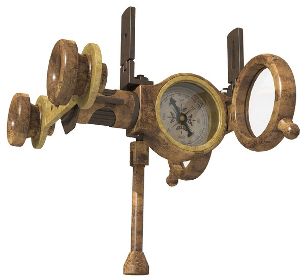 3D vintage naval compass binocular