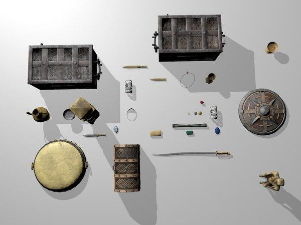3D model treasure set