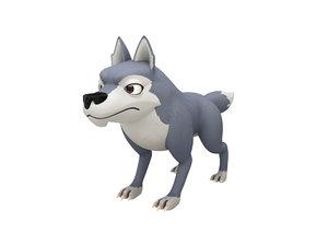 wolf character cartoon 3D model