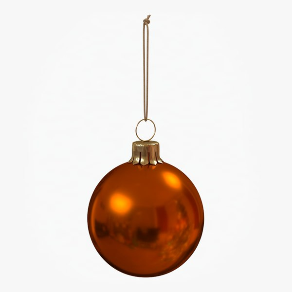 christmas ball orange glossy 3D model