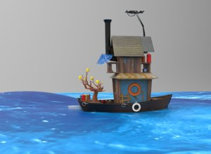 3D cartoon boat