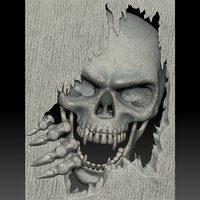 3D skull monster bas-relief stl file