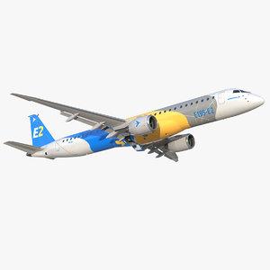 3D embraer e-jet e195-e2 jet