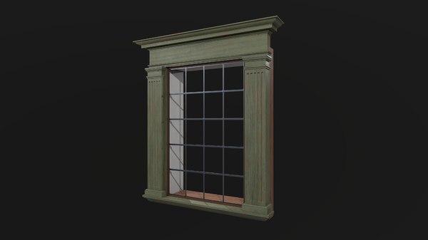 3D window wood model