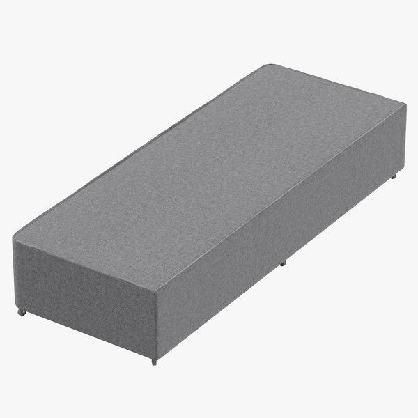 3D bed base 04 grey model