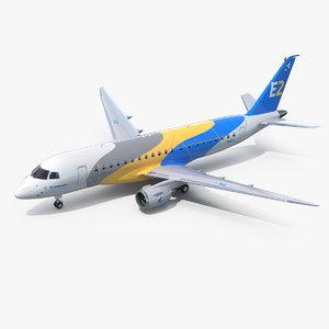 embraer e-jet e175-e2 jet 3D