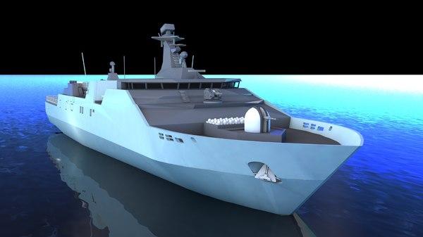 3D warship military model