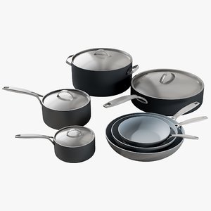 3D realistic cookware green pan model