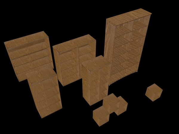 3D wooden shelf set model