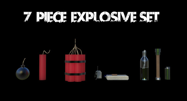 3D model 7 piece explosive set