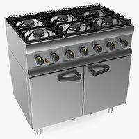 3D inox kitchen gas owen