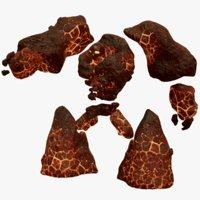 elemental stone golem rigged 3D