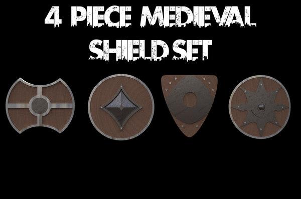 4 piece medieval shield 3D