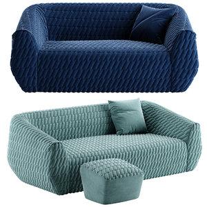 3D uncover sofa footstool model