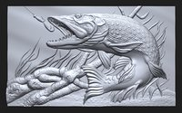 3D bas relief pike fishing