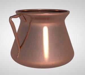 3D kitchen copper pot model