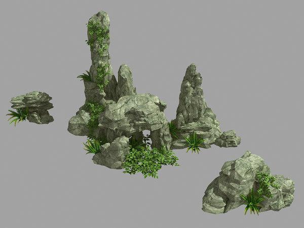 garden decoration - rockery 3D model