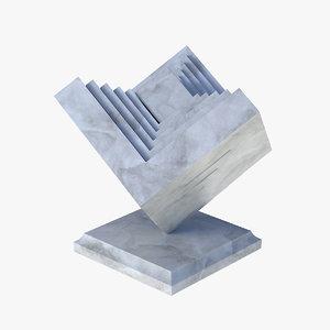 3D modern sculpture b marble