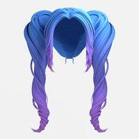 wigs fairy pigtails hair 3D model