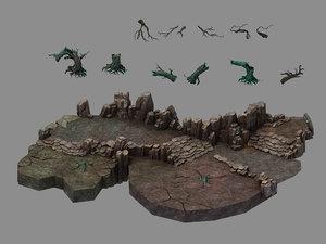 3D model fallen land - entrance