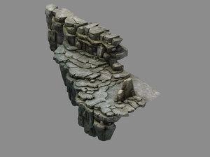 3D fallen land - stone road model