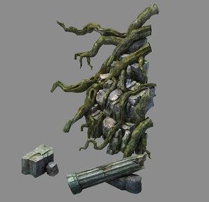 3D model fallen land - tree