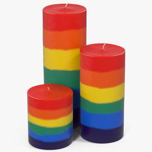 3D rainbow candles model