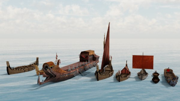 3D viking boats pack model