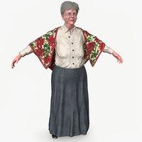 grandma body clothes 3D model