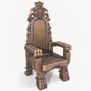 3D ready wooden throne