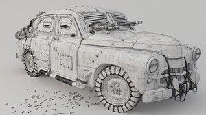3D post apocalyptic m20 pobeda model