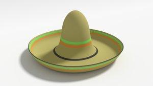 mexican sombrero hat cartoon 3D model