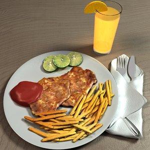 3D chicken chop fries