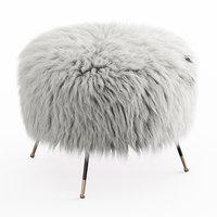 Mongolian Goat Fur Italian Footstool