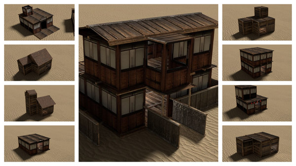 3D modular wooden desert houses