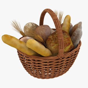 realistic bread basket 3D model