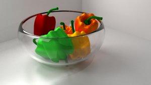 3D model bell peppers bowl
