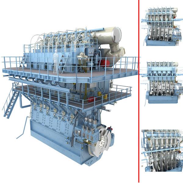 speed marine diesel engine 3D