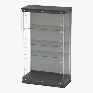3D realistic glass cabinet