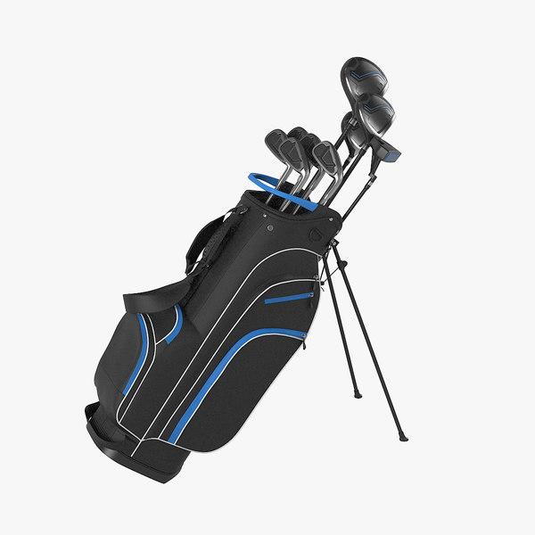 3D golf bag clubs