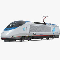 3D amtrak acela express locomotive