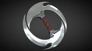 3D model chakram dagger