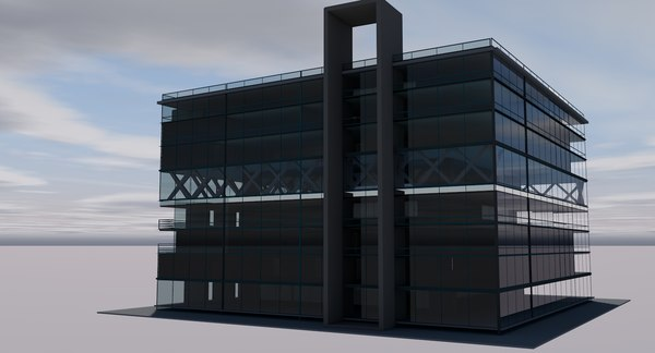 building glass office architecture 3D model